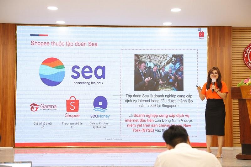 Chị Trần Thảo Quyên - Giám đốc Vận hành – Shopee đã chia sẻ về câu chuyện thành công của Shopee và những kiến thức thực tiễn nhất cho doanh nghiệp và sinh viên về chuyển đổi số trong bán hàng